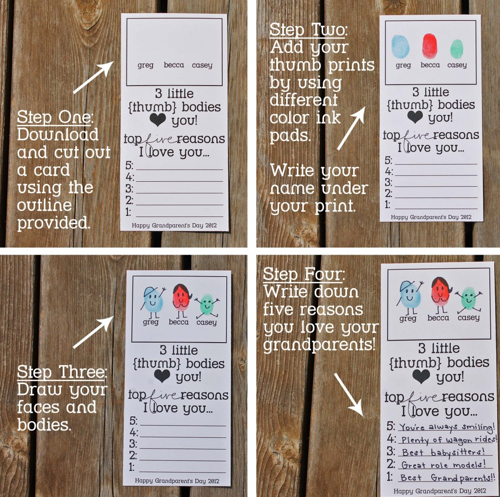 Grandparent's Day Card Instructions