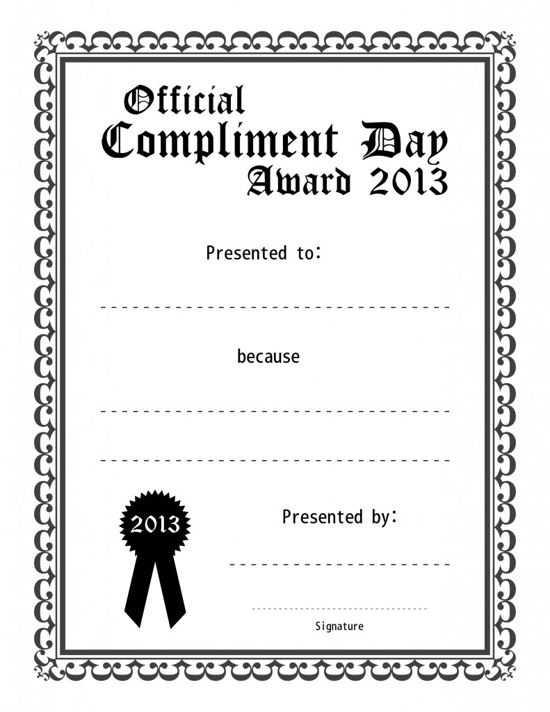 Official Compliment Day Award (Black and White)