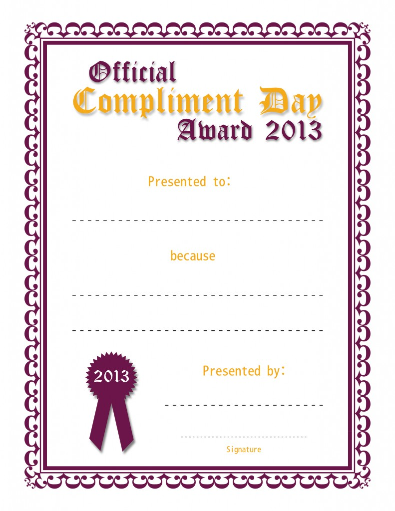 Official Compliment Day Award (Purple and Orange)