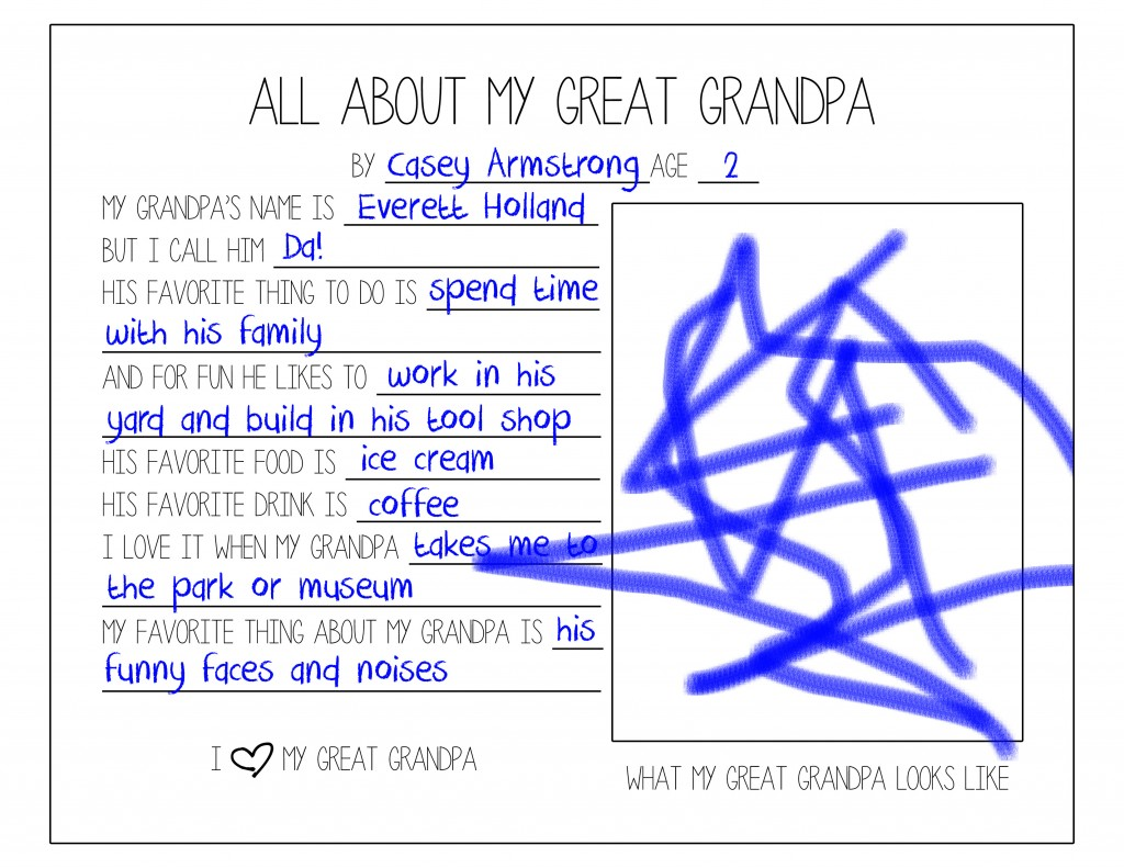 Father's Day Questionnaire (Great Grandpa - Casey)