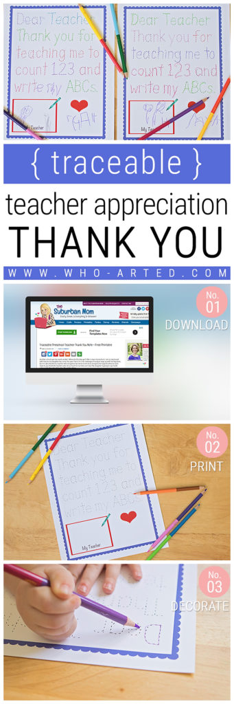 Traceable Teacher Appreciation Thank You Card {Free Printable}