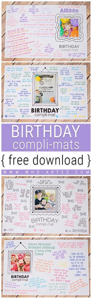 Birthday Compli-mats